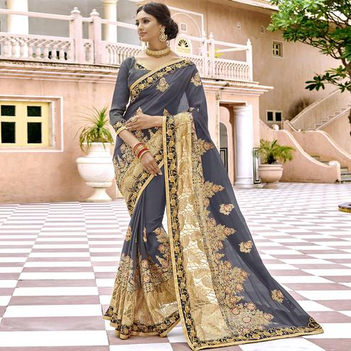 Sensational Grey Colored Party Wear Embroidered Georgette Saree