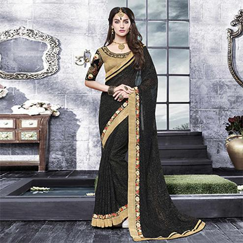 Stunning Black Floral Embroidered Partywear Saree