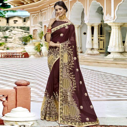 Flirty Brown Colored Party Wear Embroidered Georgette Saree