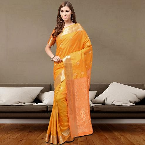 Flattering Light Orange Colored Festive Wear Printed Silk Saree