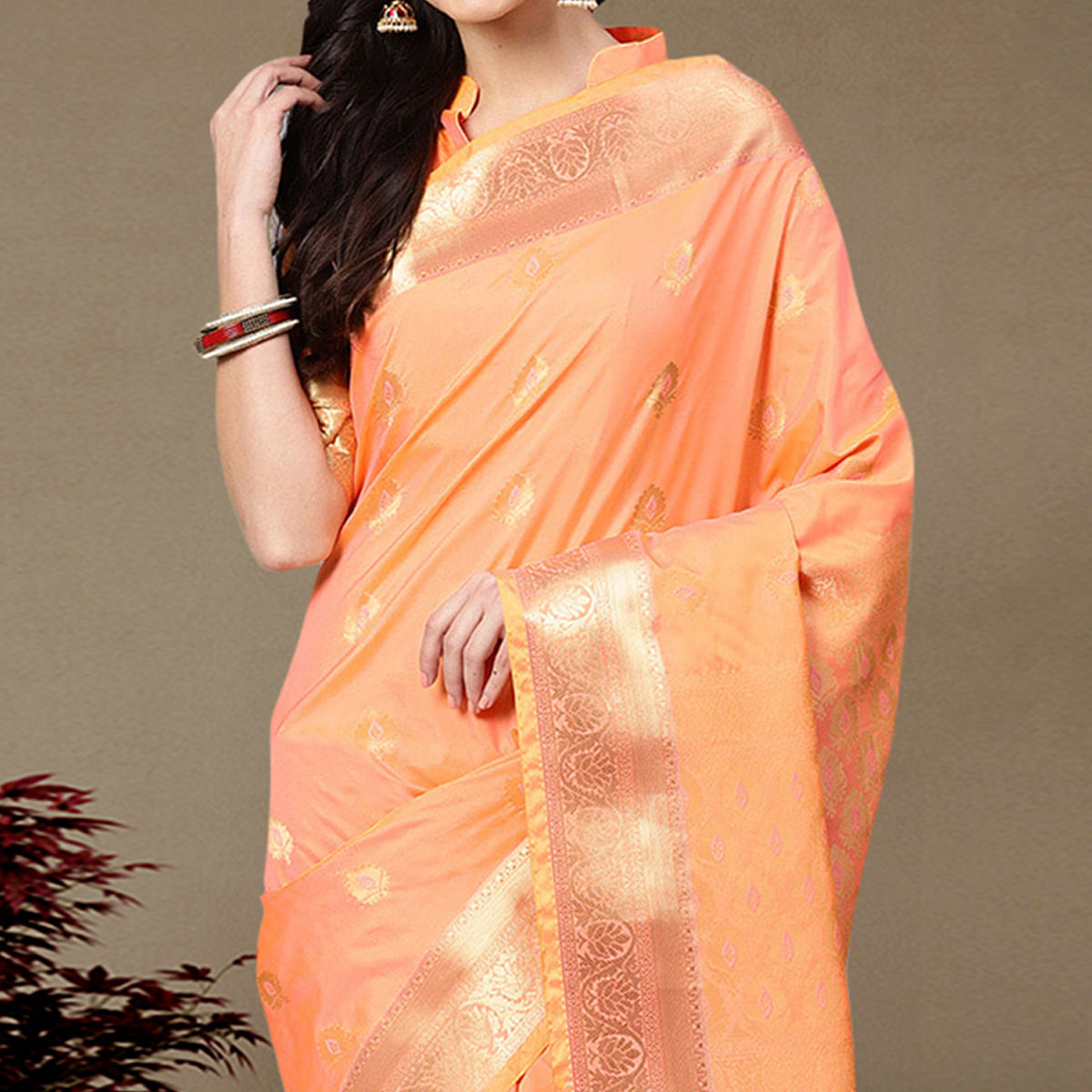 Opulent Peach Colored Festive Wear Printed Silk Saree