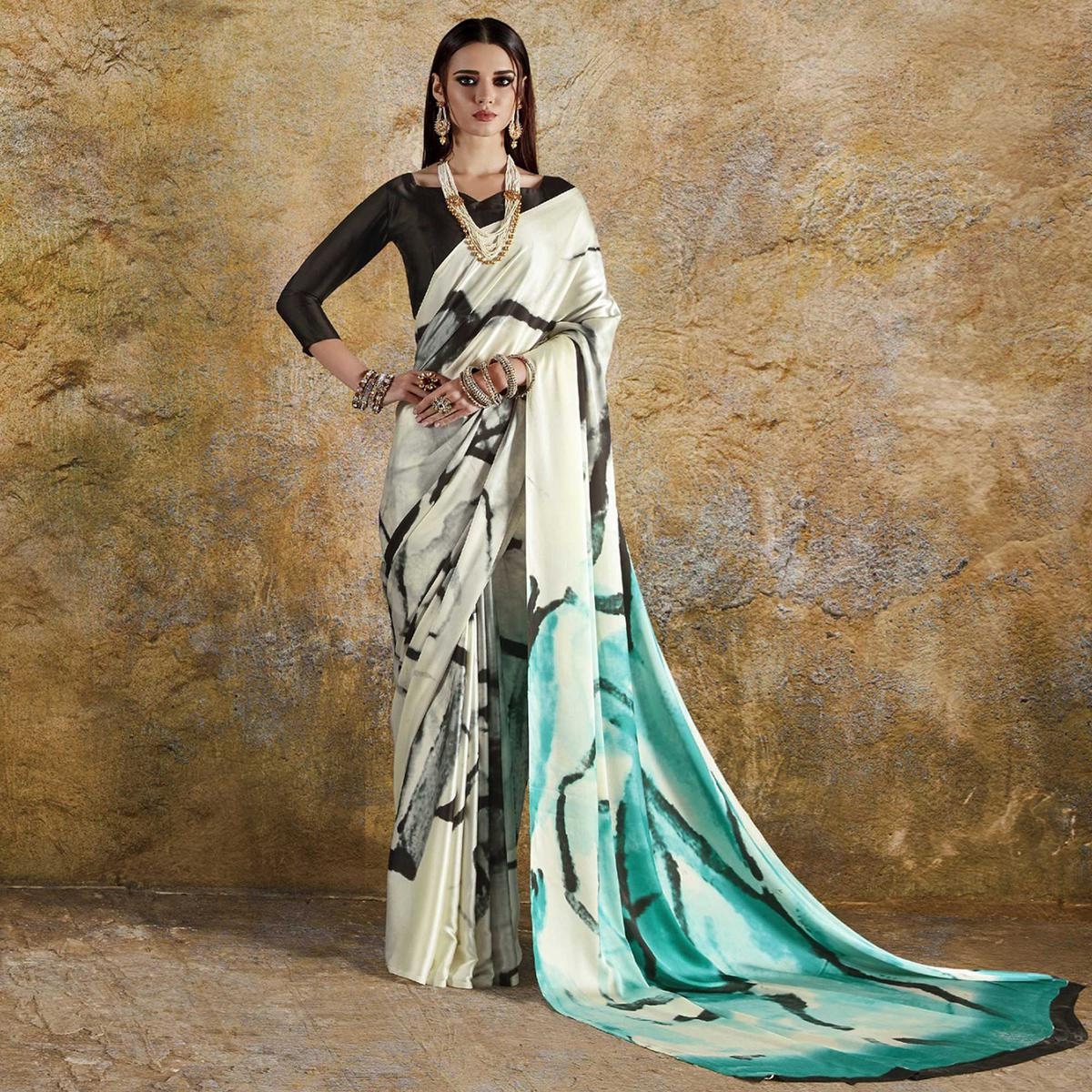 Opulent Off White - Blue Colored Casual Wear Printed Crepe Saree