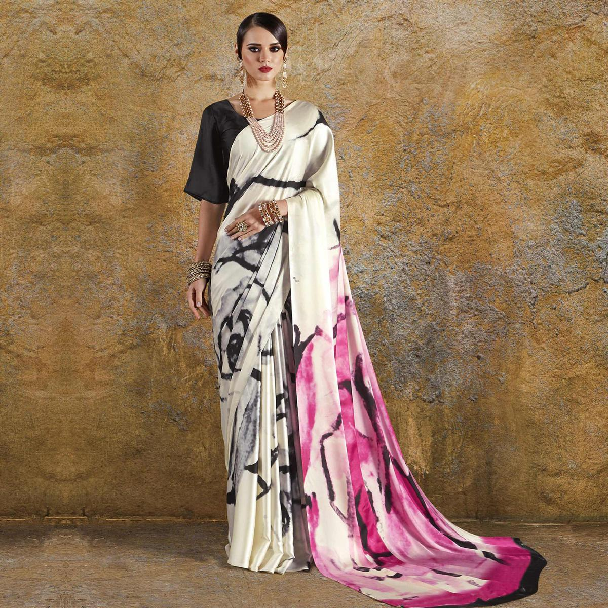 Energetic Off White - Pink Colored Casual Wear Printed Crepe Saree