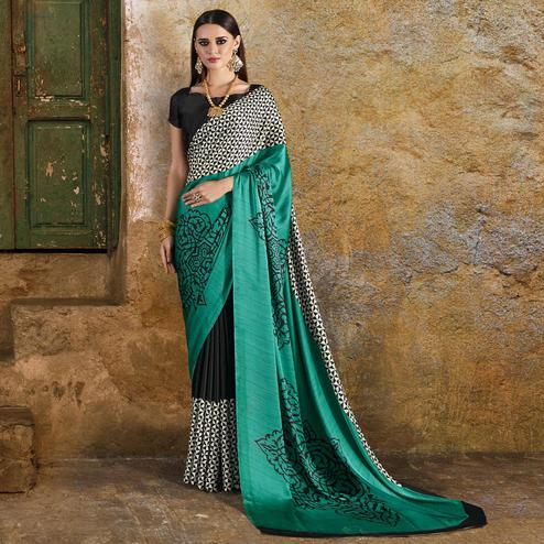 Glowing Teal Green - Black Colored Casual Wear Printed Crepe Saree