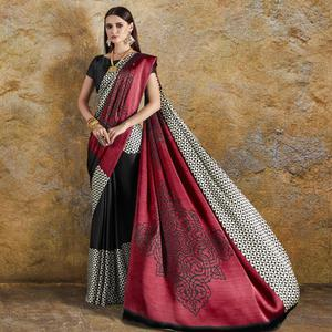 Exceptional Maroon - Black Colored Casual Wear Printed Crepe Saree