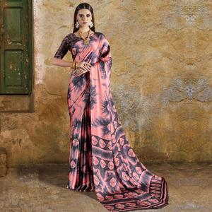 Gleaming Peach Colored Casual Wear Printed Crepe Saree