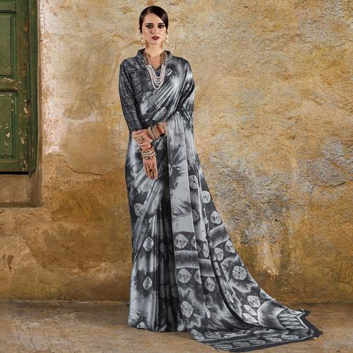 Mesmeric Grey Colored Casual Wear Printed Crepe Saree