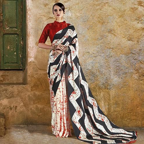 Unique Off White - Red Colored Casual Wear Printed Crepe Saree