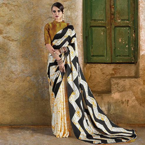 Demanding Off White - Yellow Colored Casual Wear Printed Crepe Saree