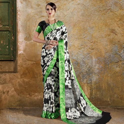 Alluring Black - Green Colored Casual Wear Printed Crepe Saree