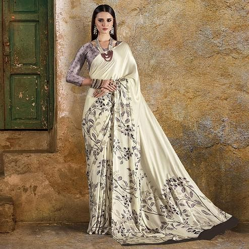 Refreshing Cream Colored Casual Wear Printed Crepe Saree