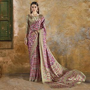 Hypnotic Pink Colored Casual Wear Printed Crepe Saree