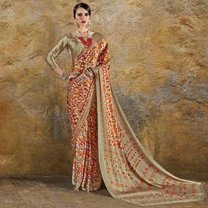 Elegant Orange Colored Casual Wear Printed Crepe Saree