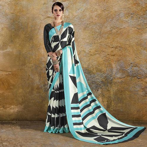 Excellent Off White - Sky Blue Colored Casual Wear Printed Crepe Saree