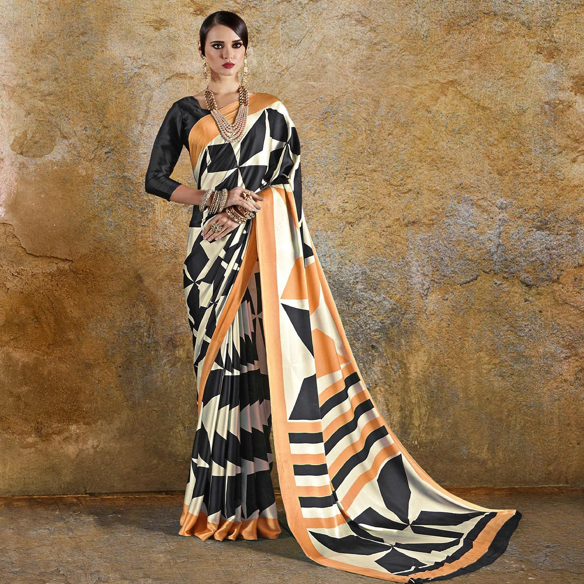 Breathtaking Off White - Orange Colored Casual Wear Printed Crepe Saree