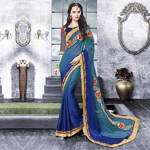 Sizzling Shaded Blue Floral Embroidered Chiffon Saree