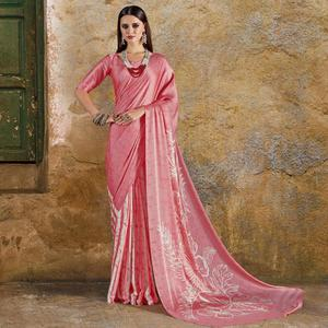 Impressive Pink Colored Casual Wear Printed Crepe Saree
