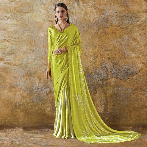 Flamboyant Lemon Green Colored Casual Wear Printed Crepe Saree