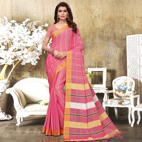 Sensational Pink Colored Festive Wear Checks Print Pure Linen Saree