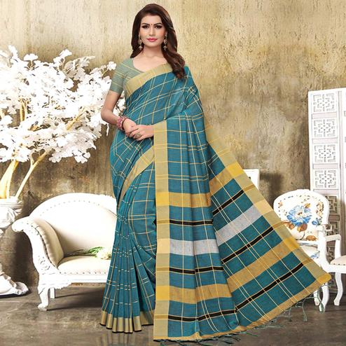 Flaunt Teal Blue Colored Festive Wear Checks Print Pure Linen Saree