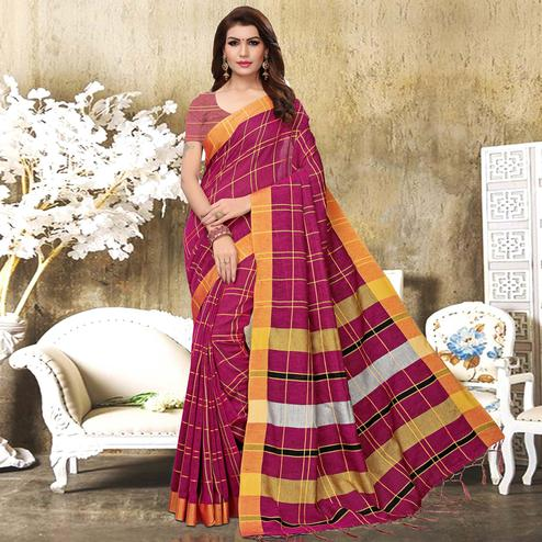 Dazzling Deep Pink Colored Festive Wear Checks Print Pure Linen Saree