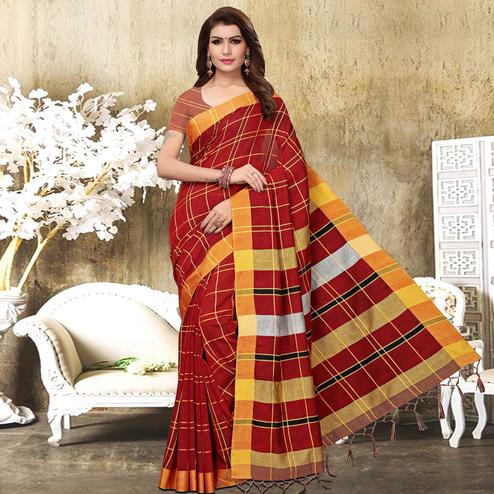 Flirty Red Colored Festive Wear Checks Print Pure Linen Saree