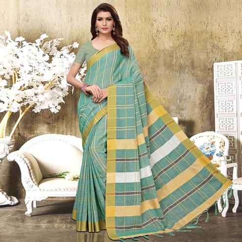 Jazzy Pastel Aqua Blue Colored Festive Wear Checks Print Pure Linen Saree