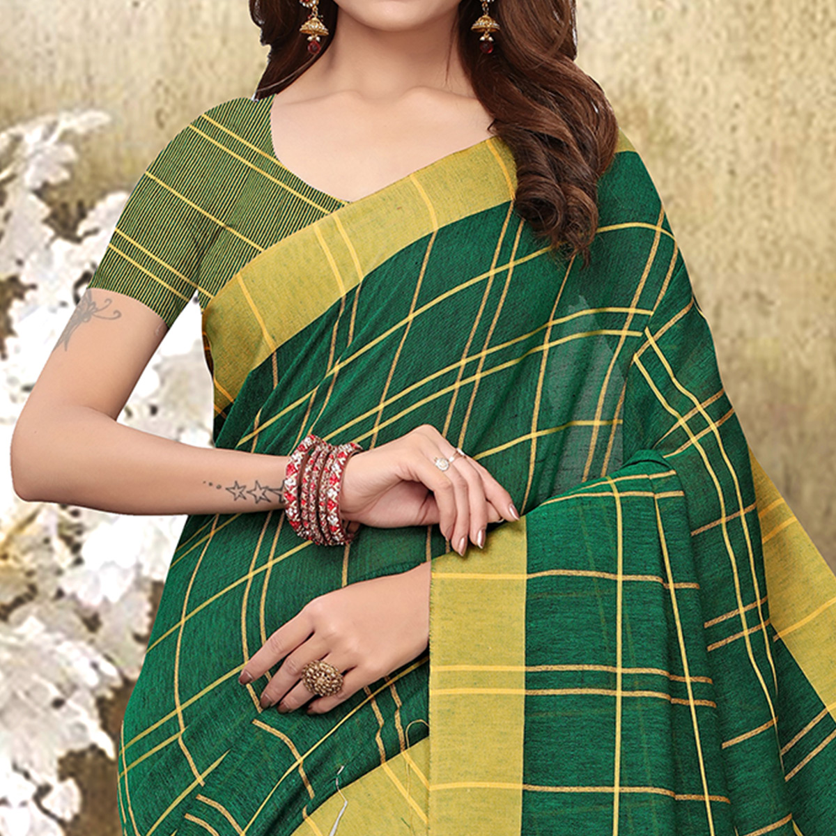 Adorning Green Colored Festive Wear Checks Print Pure Linen Saree