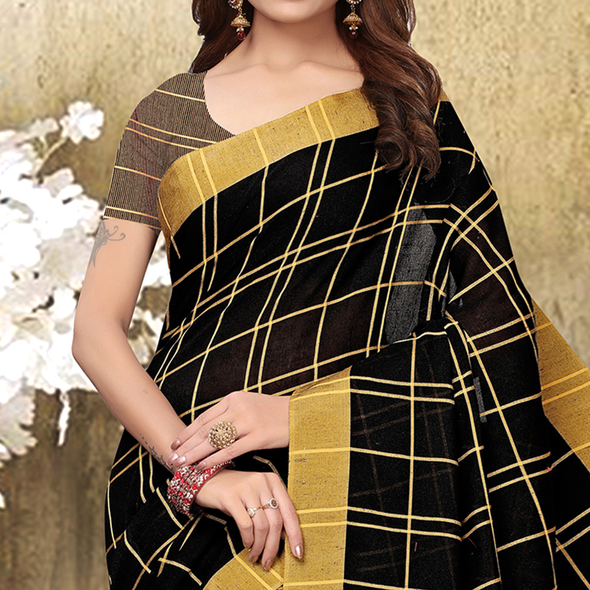Appealing Black Colored Festive Wear Checks Print Pure Linen Saree