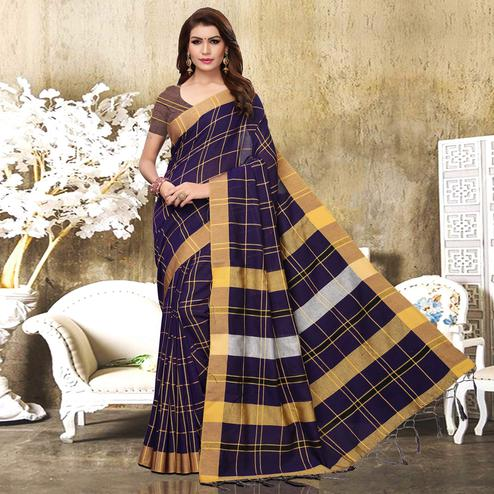 Capricious Navy Blue Colored Festive Wear Checks Print Pure Linen Saree