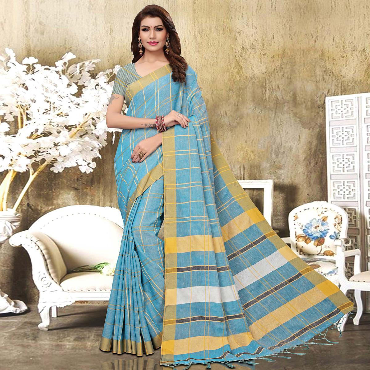 Captivating Sky Blue Colored Festive Wear Checks Print Pure Linen Saree