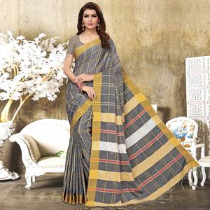 Groovy Grey Colored Festive Wear Checks Print Pure Linen Saree