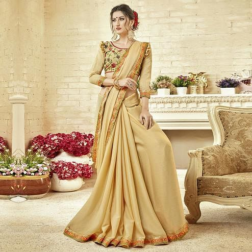Appealing Beige Colored Partywear Embroidered Silk Saree