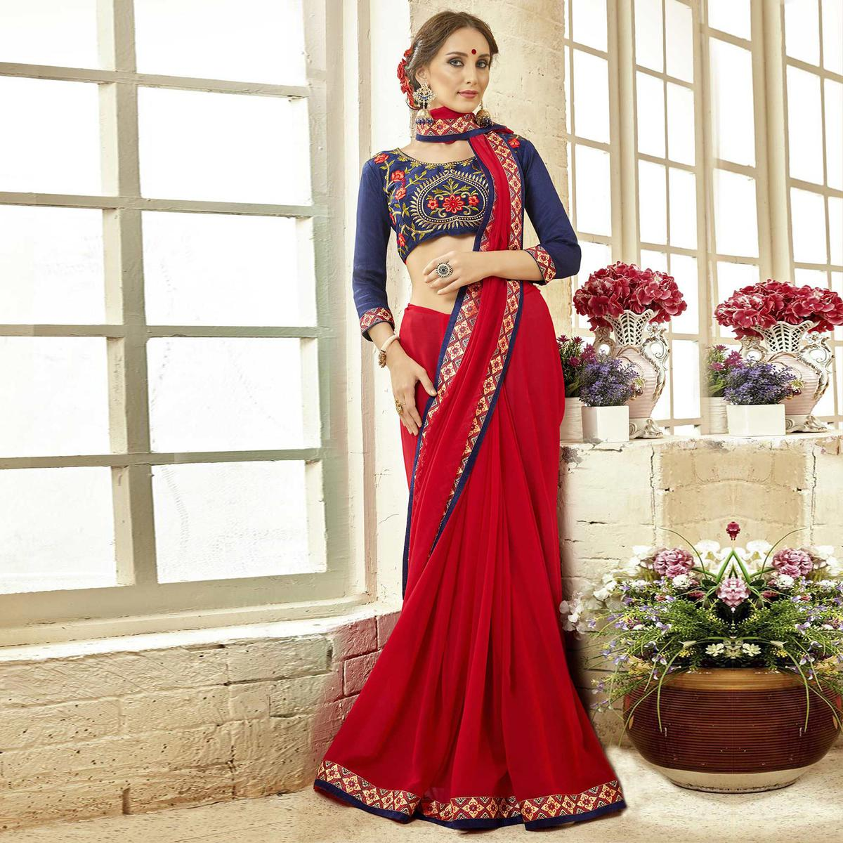 Special Red Colored Partywear Embroidered Georgette Saree