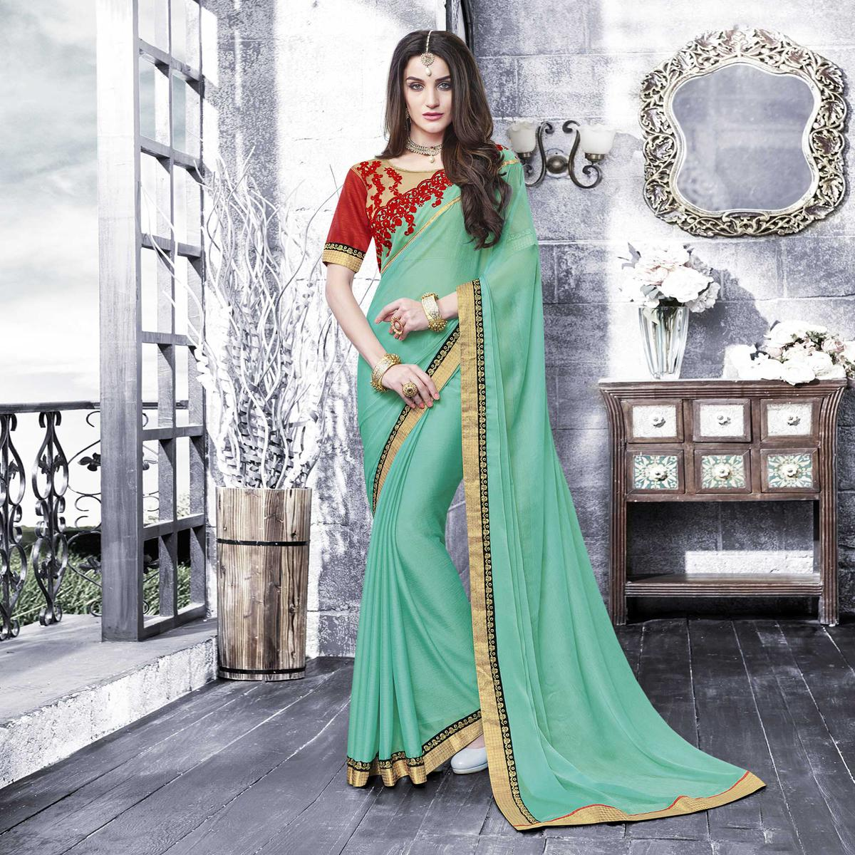 Elegant Sea Green - Red Designer Chiffon Saree