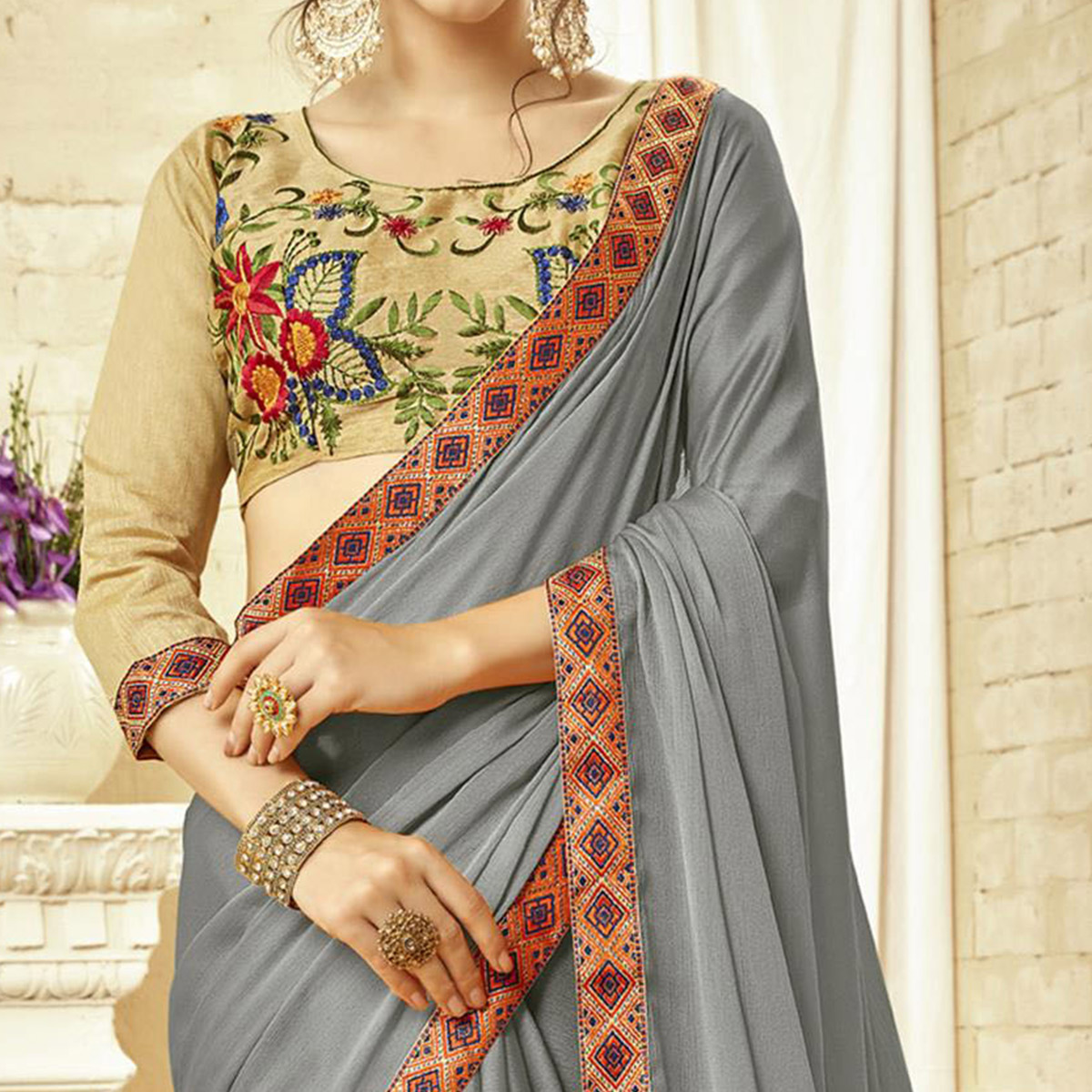 Groovy Gray Colored Partywear Embroidered Georgette Saree