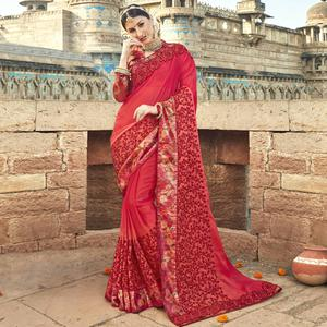 Amazing Red Colored Partywear Embroidered Silk Saree