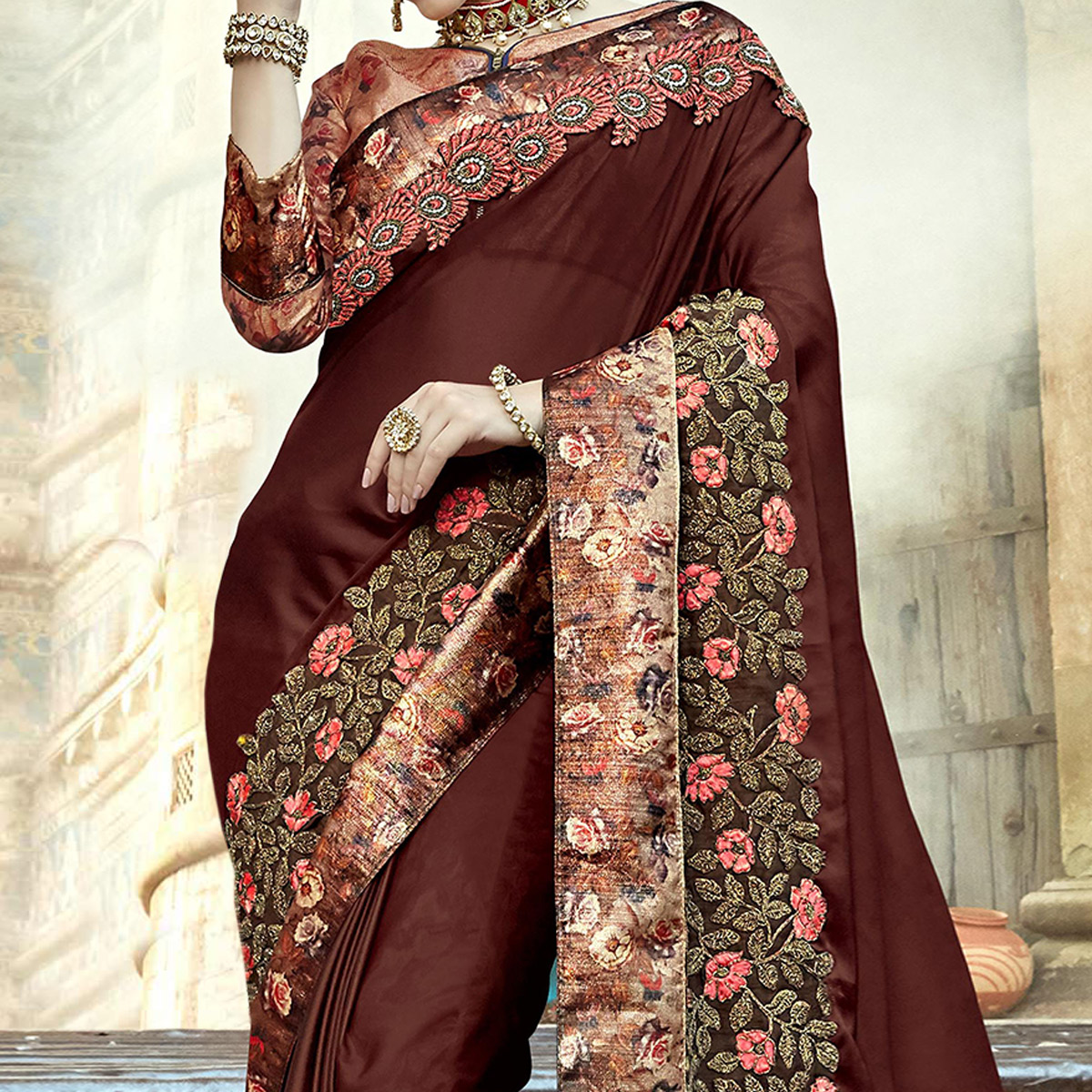 Demanding Dark Brown Colored Partywear Embroidered Silk Saree