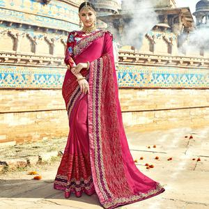 Fantastic Pink Colored Partywear Embroidered Silk Saree