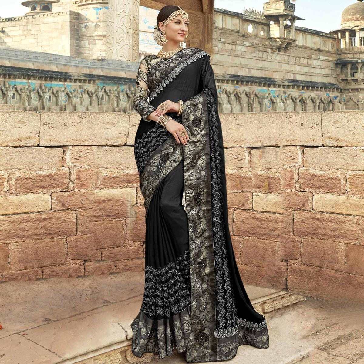 Flaunt Black Colored Partywear Embroidered Silk Saree