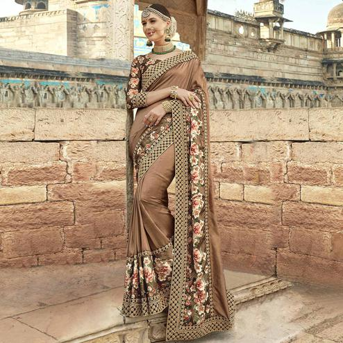 Flamboyant Light Brown Colored Partywear Embroidered Silk Saree