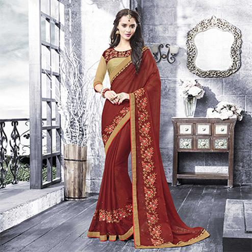 Graceful Maroon - Beige Embroidered Designer Saree