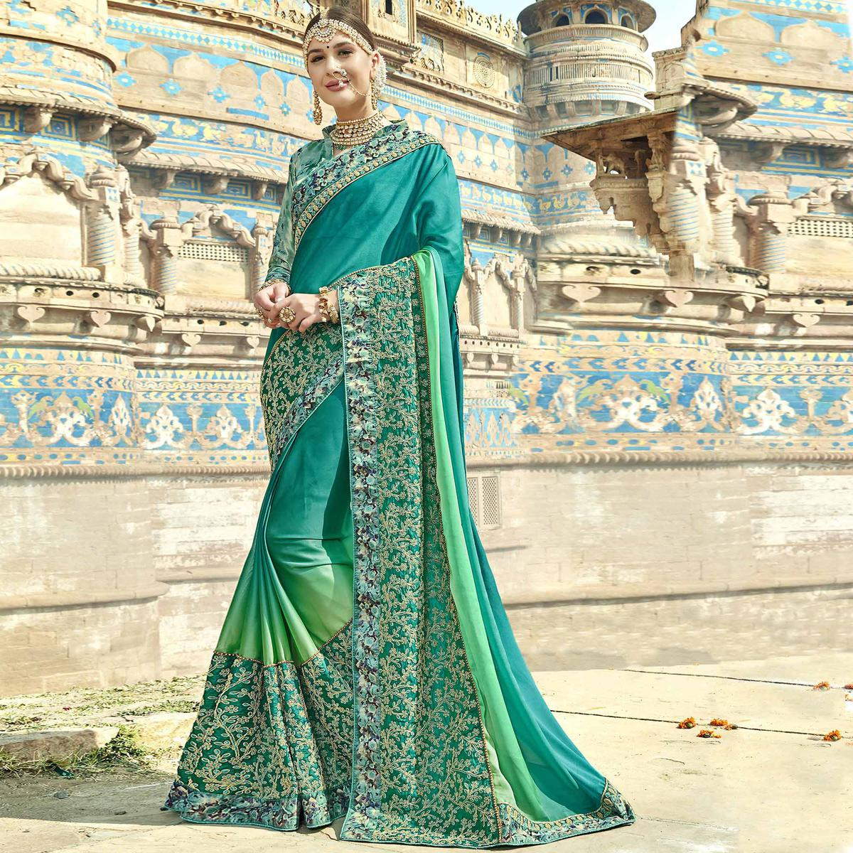 Stunning Green Colored Partywear Embroidered Silk Saree