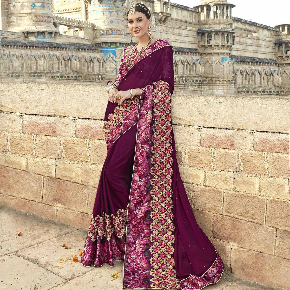 Exceptional Violet Colored Partywear Embroidered Silk Saree