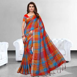 Prominent Red - Blue Colored Festive Wear Printed Pure Linen Saree
