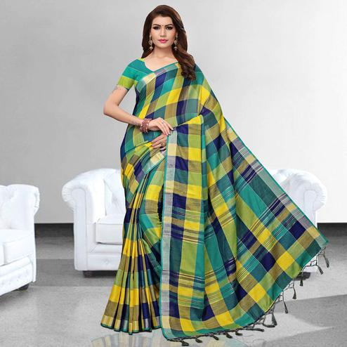 Innovative Yellow - Green Colored Festive Wear Printed Pure Linen Saree