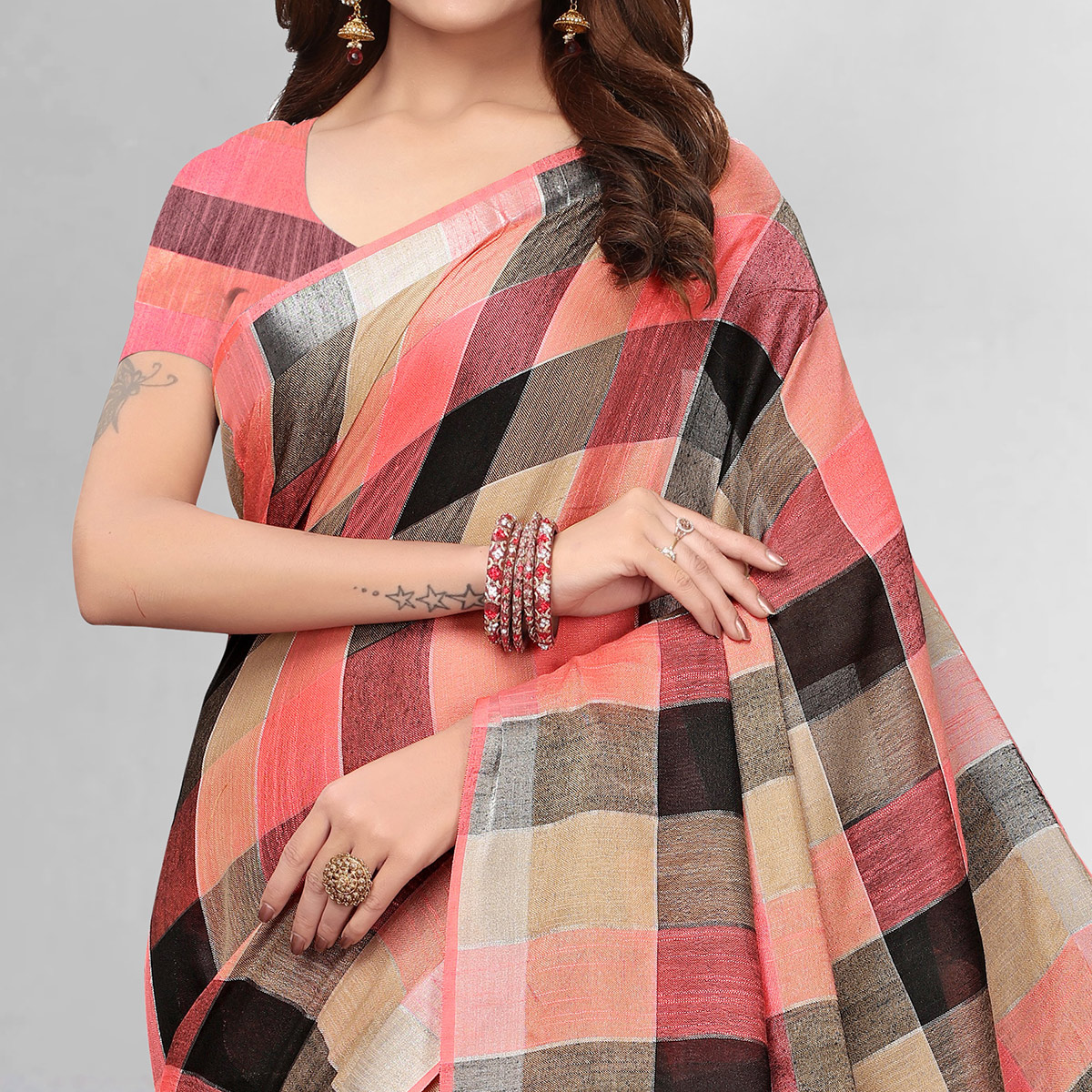 Jazzy Peach Colored Festive Wear Printed Pure Linen Saree