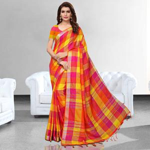 Starring Orange - Yellow Colored Festive Wear Printed Pure Linen Saree