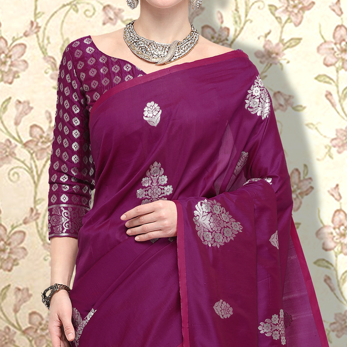 Desirable Dark Purple Colored Festive Wear Woven Silk Saree