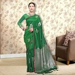 Sophisticated Green Colored Festive Wear Woven Silk Saree